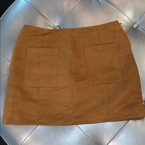 Brown Faux Suede Skirt